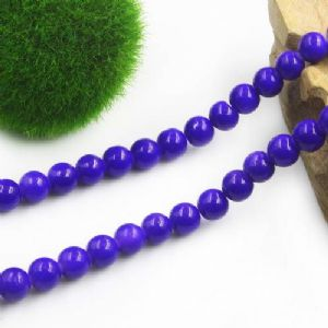 Beads, Glass, Dark blue , Round shape, Diameter 10mm, 5 Beads, [BHB0140]